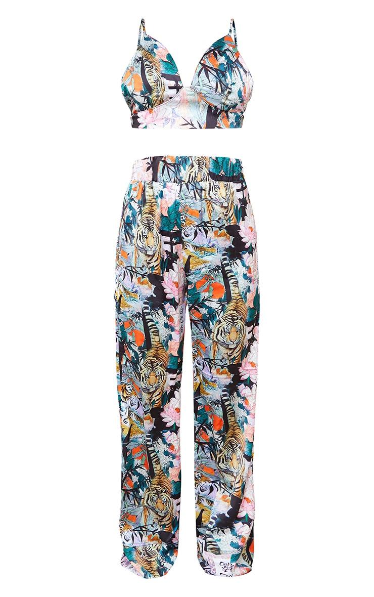 Black Floral Tiger Satin Triangle Bralet And Trouser PJ Set 5