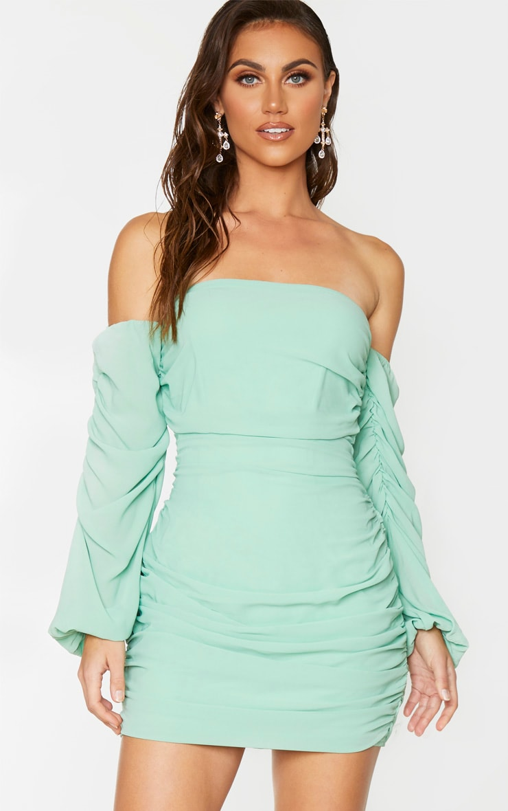 Sage Green Ruched Chiffon Bodycon Dress 3