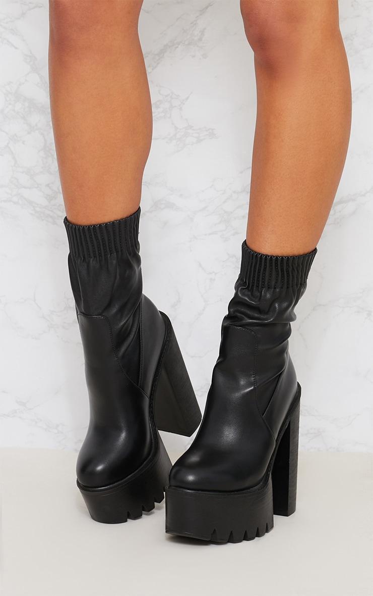 Black Extreme Platform Sock Boot 2