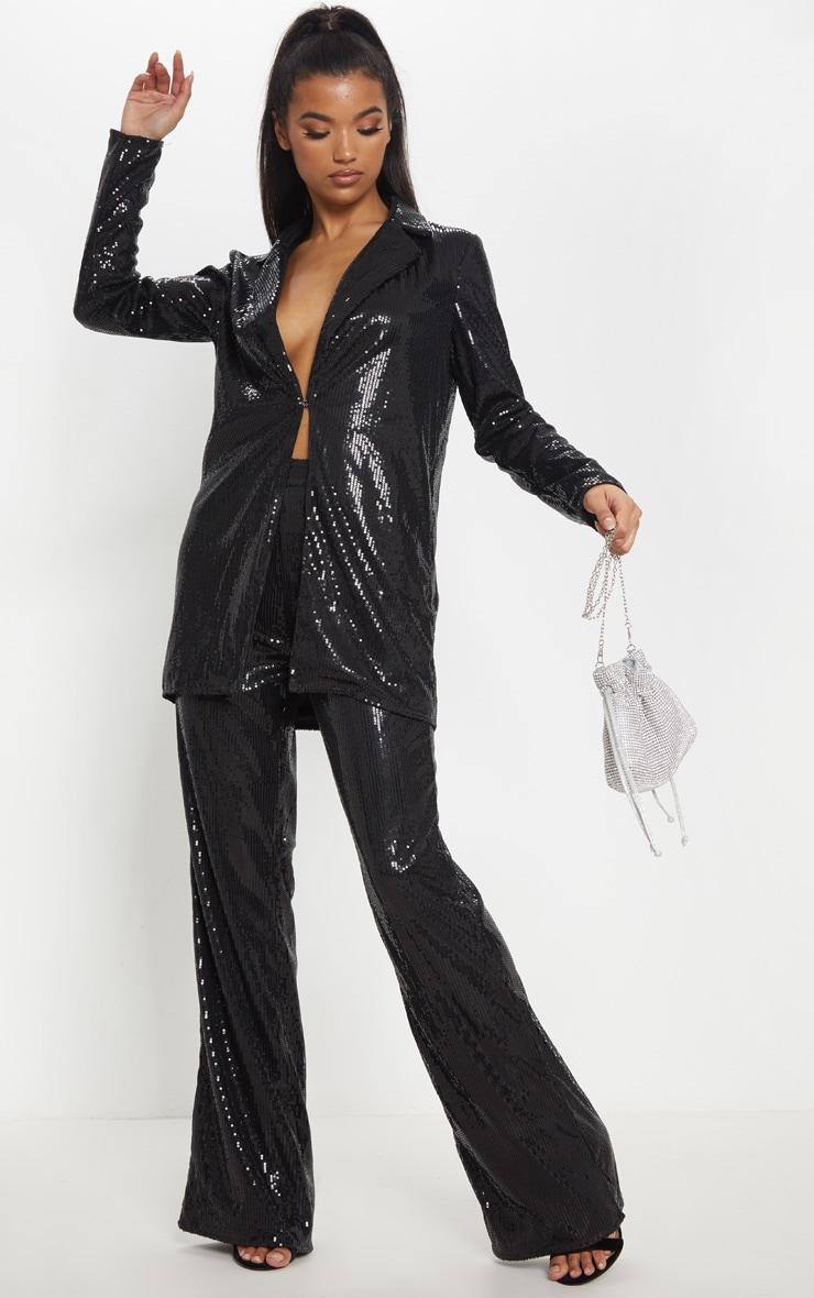 Black Sequin Longline Blazer 1