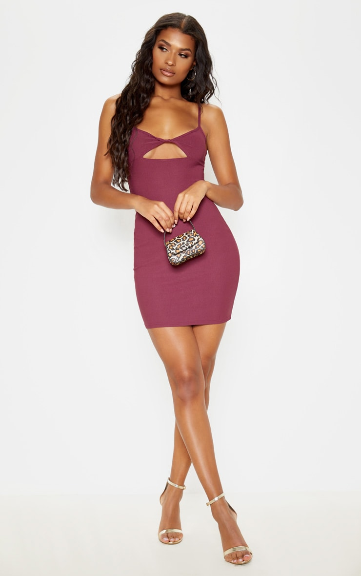 Aubergine Strappy Twist Front Bodycon Dress 1