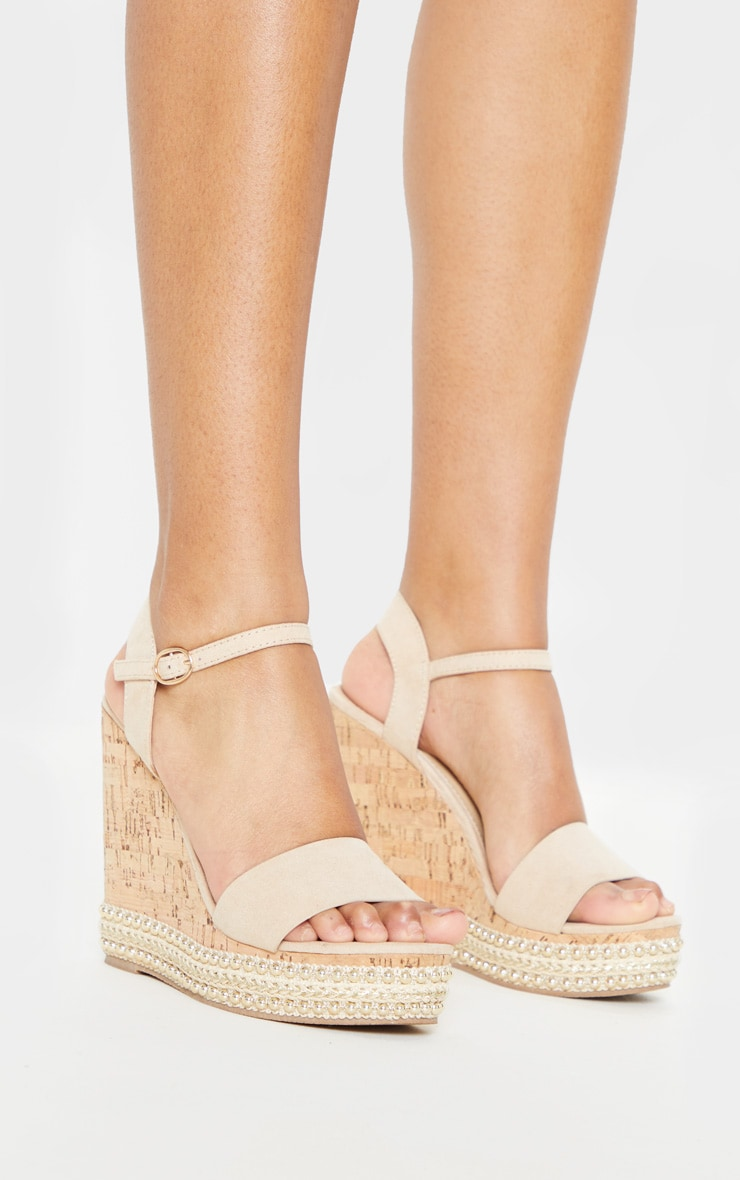 Nude Studded Cork Wedge Sandal 3