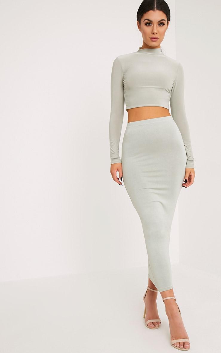Basic Sage Green Midaxi Skirt 1