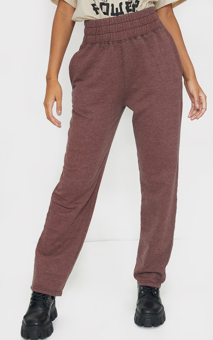 Brown High Waisted Washed Straight Leg Joggers 2