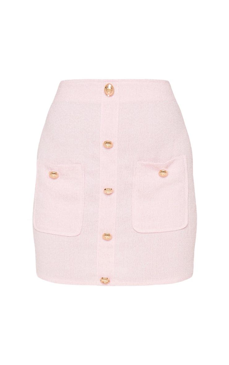 Petite Pink Tweed Button Detail Mini Skirt 3