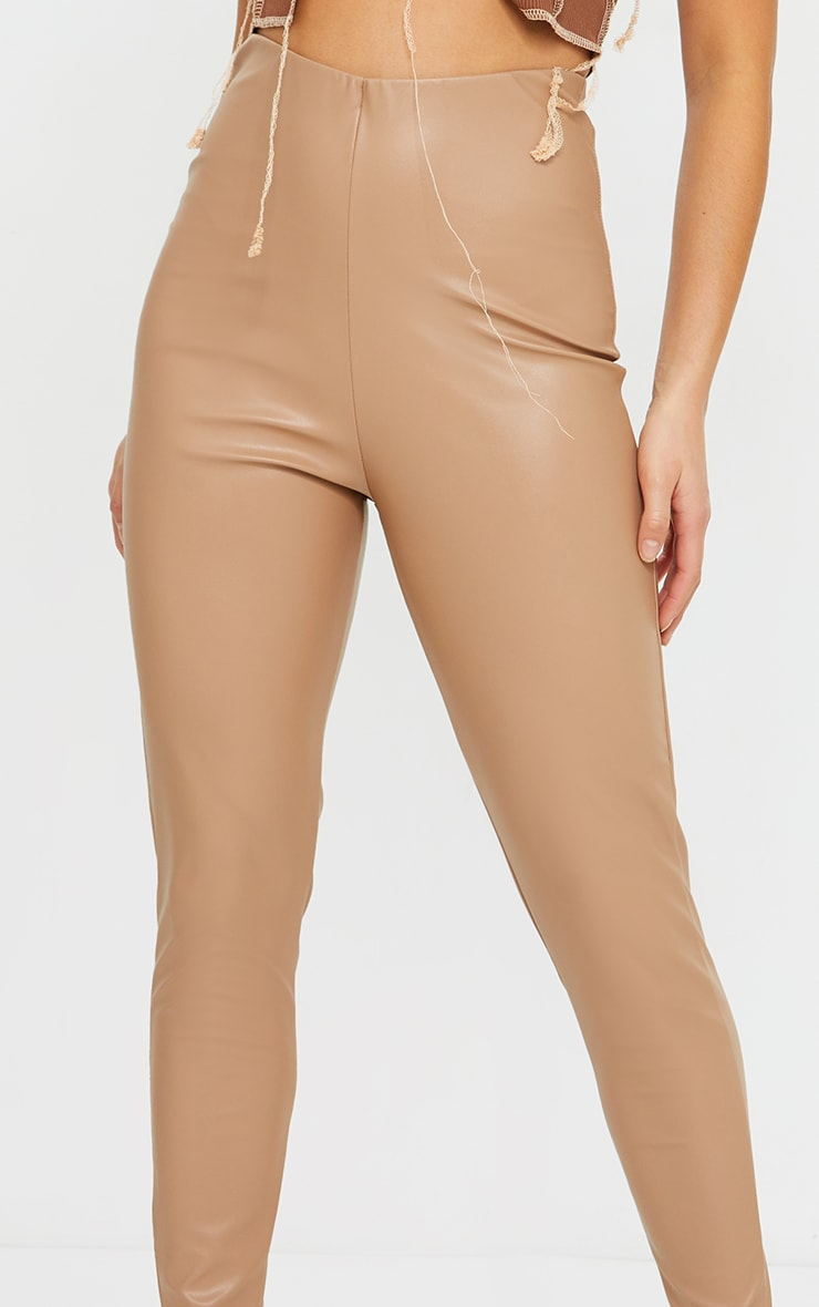 Petite Stone Basic Faux Leather High Waist Leggings 4