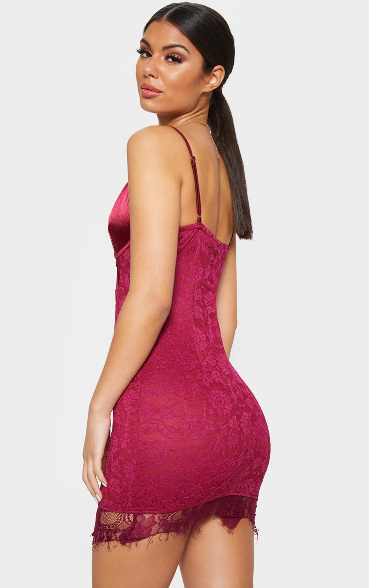 Burgundy Satin Top Bustier Lace Bodycon Dress 2