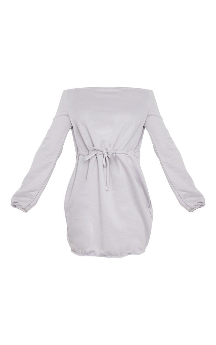 Grey Off Shoulder Elastic Waist Sweat Dress 3