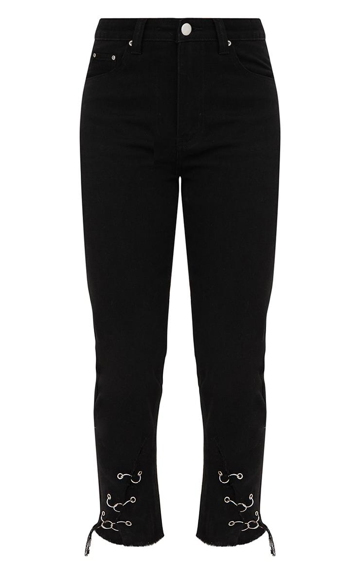 Black Ring Hem Mom Jeans 3