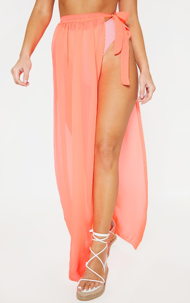Coral Tie Side Maxi Beach Skirt 2