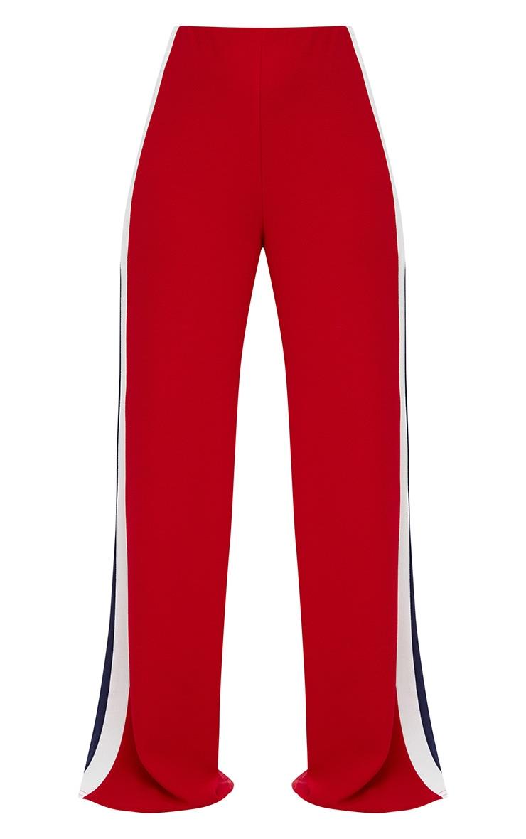Red Contrast Stripe Wide Leg Trousers 3