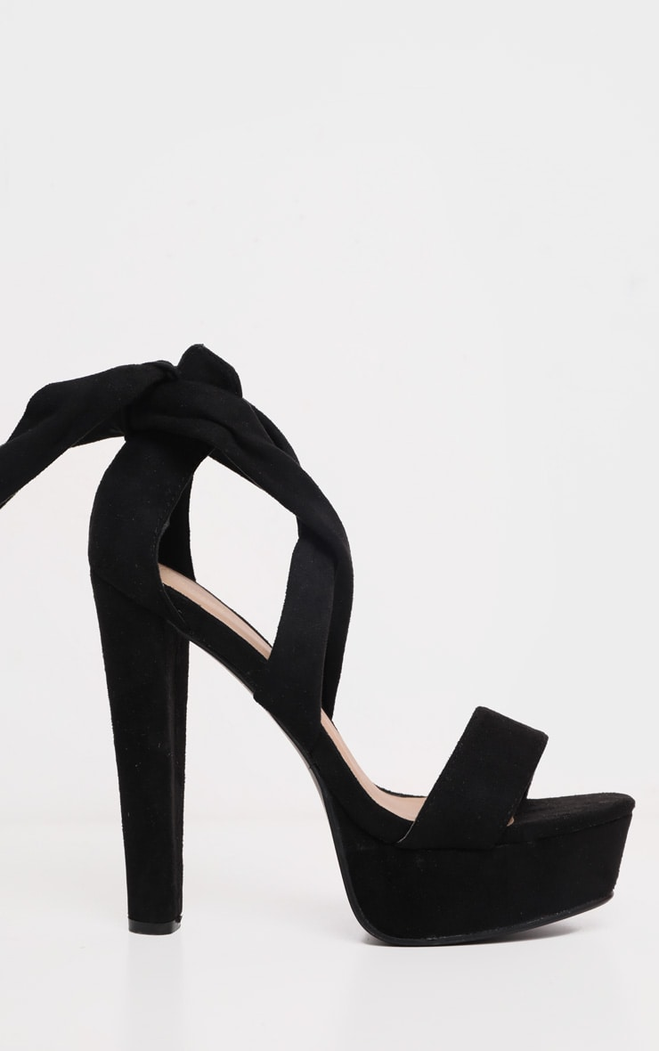 Tria Black Faux Suede Wrap Platform Sandals 4