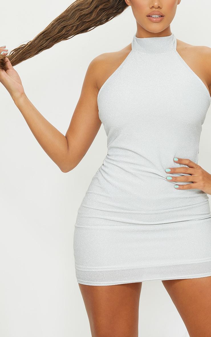 Shape Silver Glitter Halterneck Bodycon Dress 4