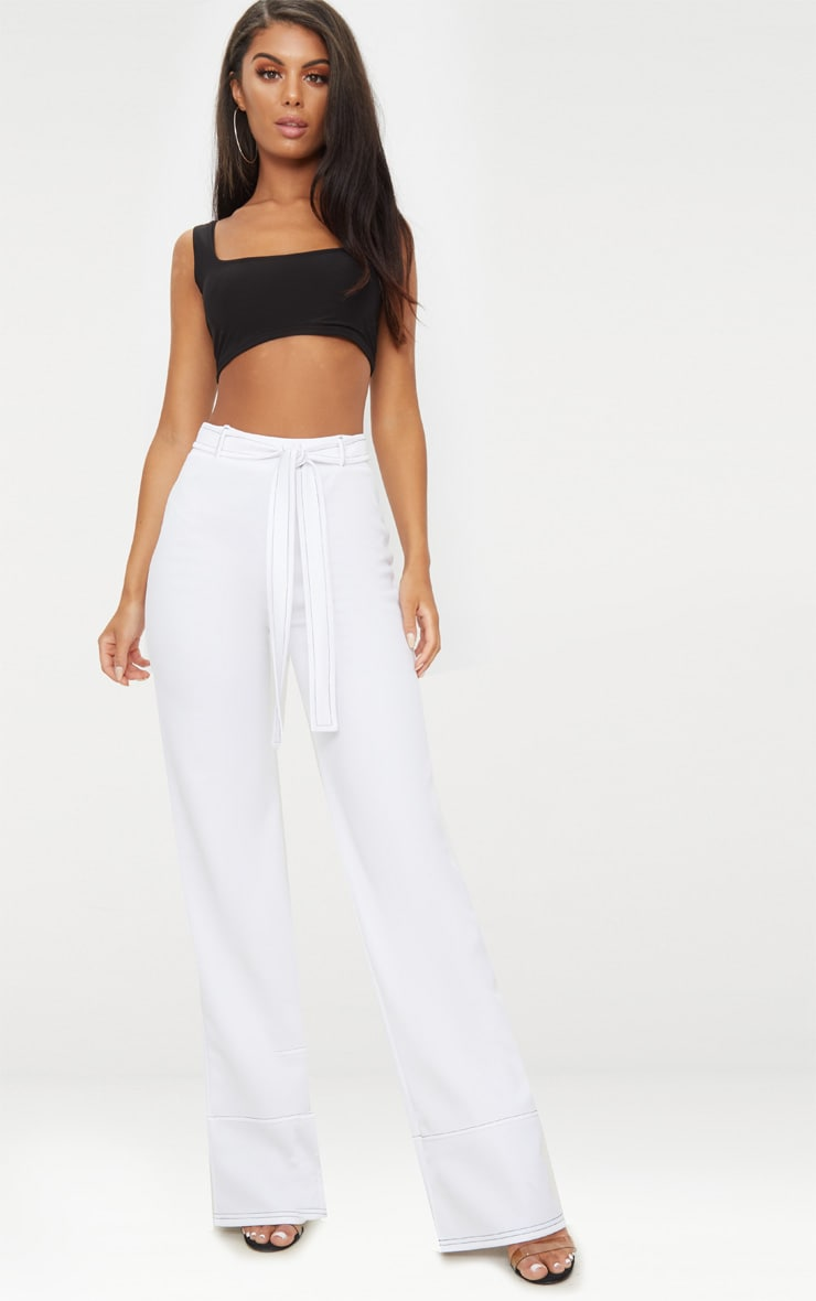 White Contrast Stitch Tie Waist Casual Trousers