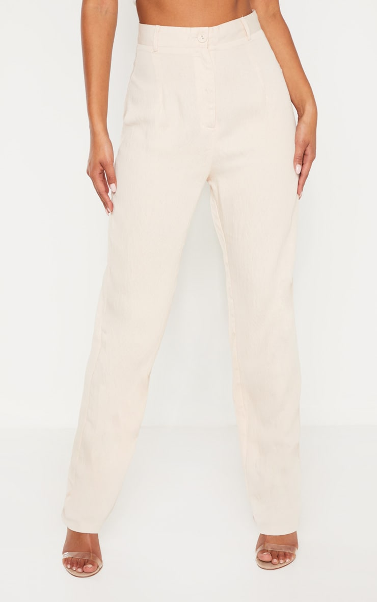 Stone Linen Mix Button Front Straight Leg Pants 2