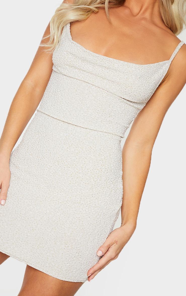 Nude Textured Glitter Strappy Cowl Neck Bodycon Dress 4