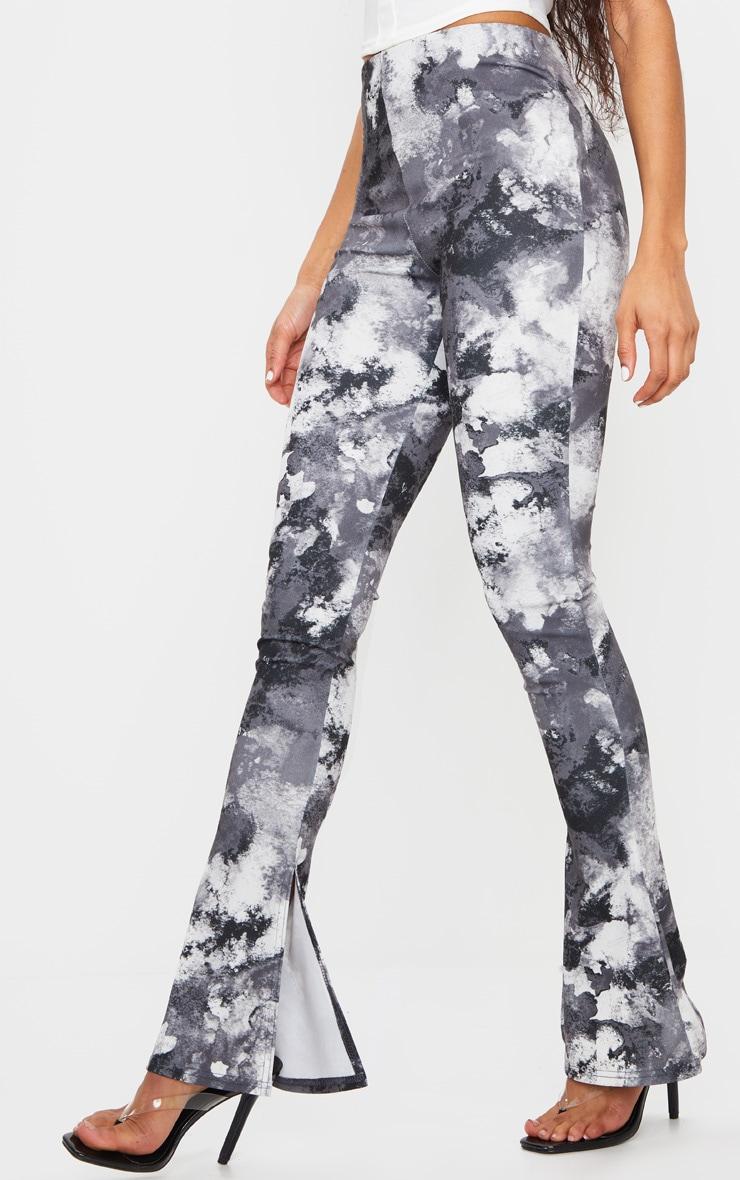 Black Tie Dye Kick Flare Split Hem Detail Pants 2