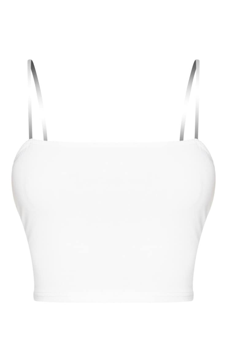 Shape White Slinky Clear Strap Crop Top 5