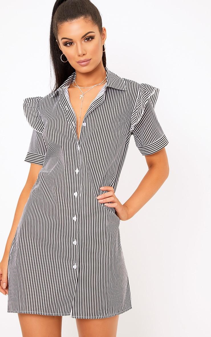 Wendayar Stripes Frill Short Sleeve Shirt Dress Black 1