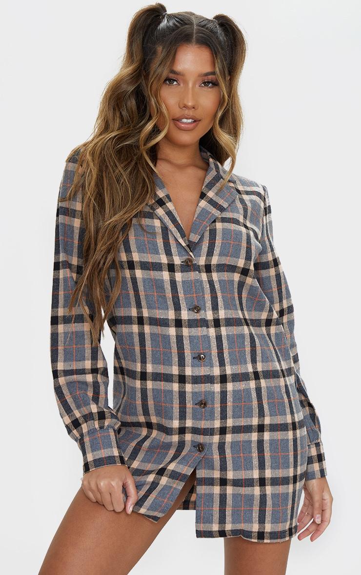 Charcoal Check Long Sleeve Shirt Dress 1