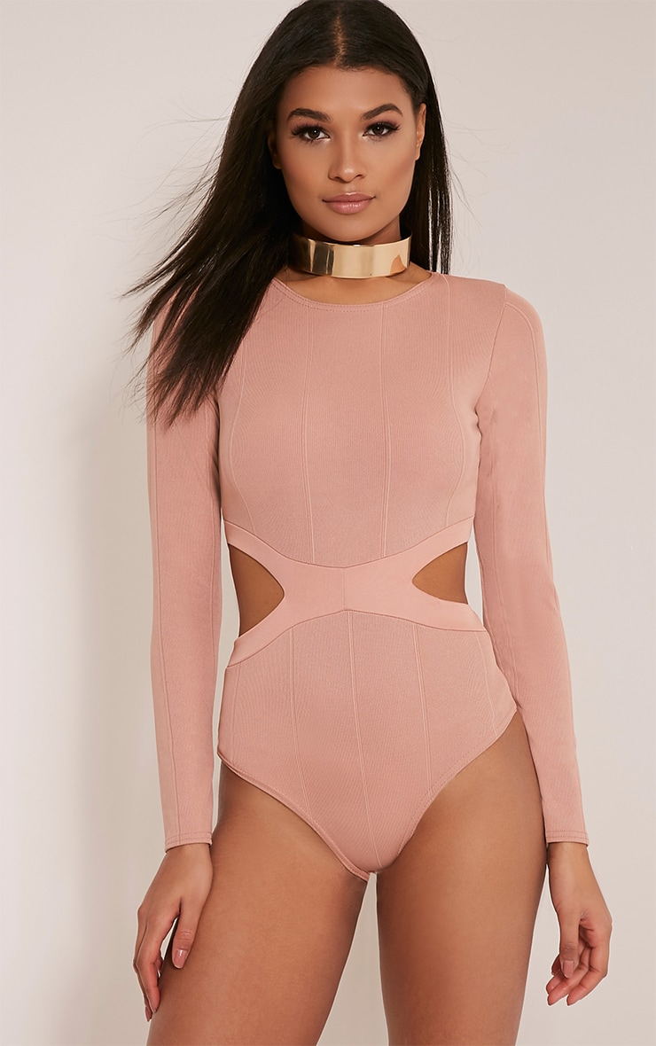 Alessia Nude Bandage Cut Out Bodysuit 2