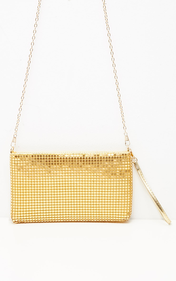 Gold Chainmail Rectangular Clutch 3