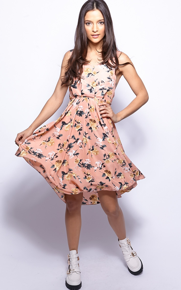 Marie Peach Floral Print Full Skirt Dress 5
