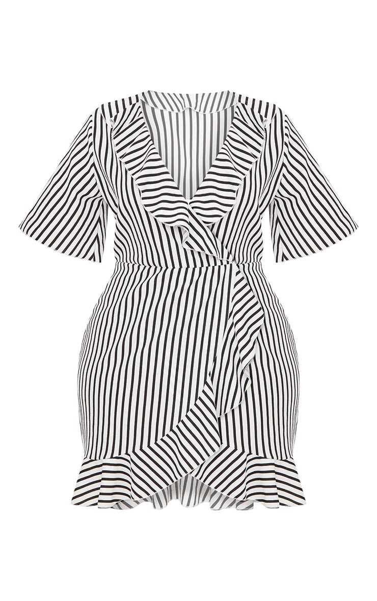 Plus White Striped Frill Detail Wrap Dress 3
