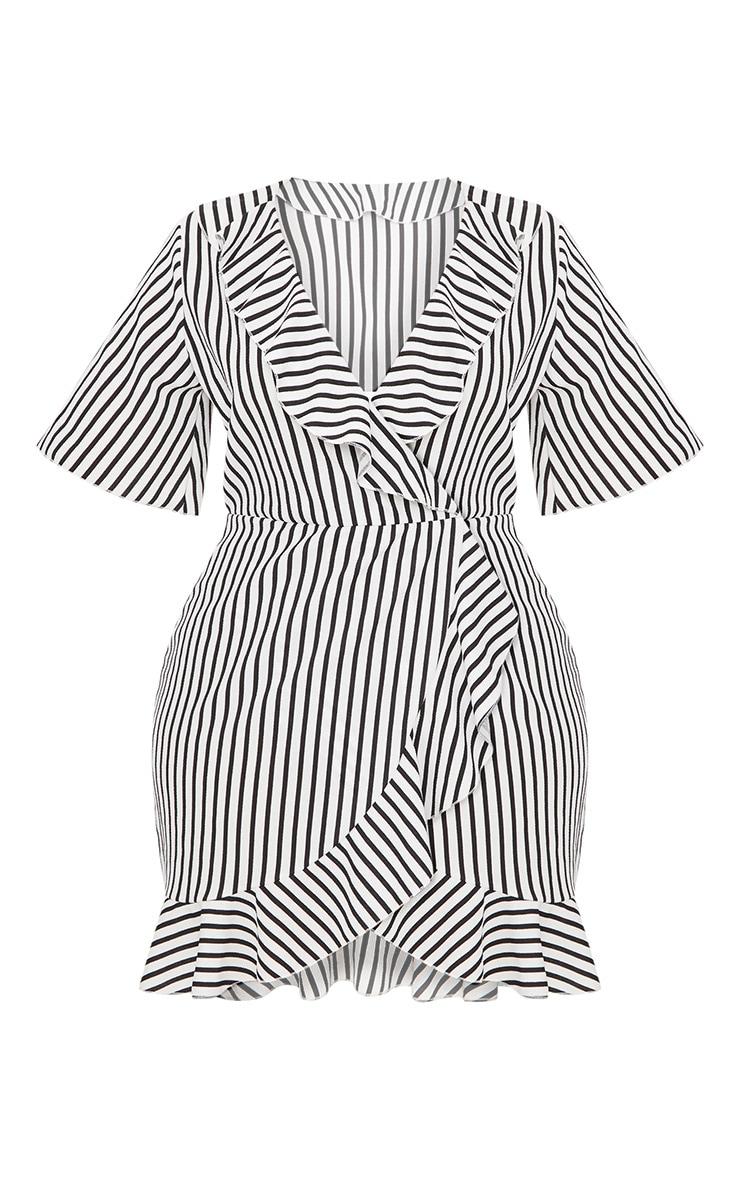 PLT Plus - Robe portefeuille volantée blanche à rayures 3