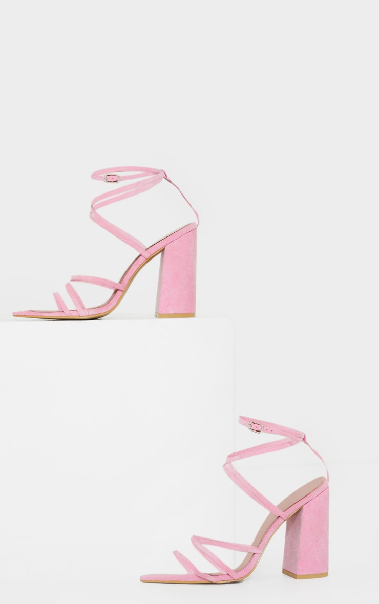 Pink Faux Suede Strappy Point Toe Block Heel Sandals  4