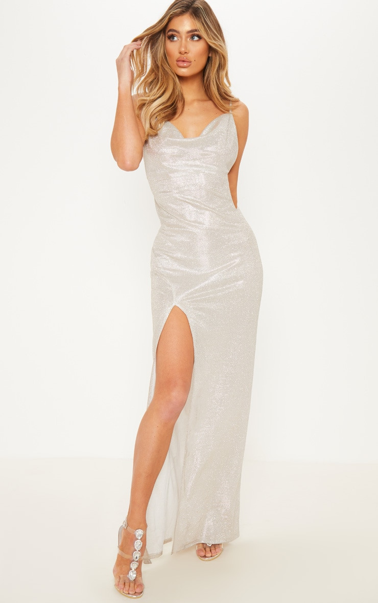 SILVER METALLIC COWL SPLIT LEG MAXI DRESS