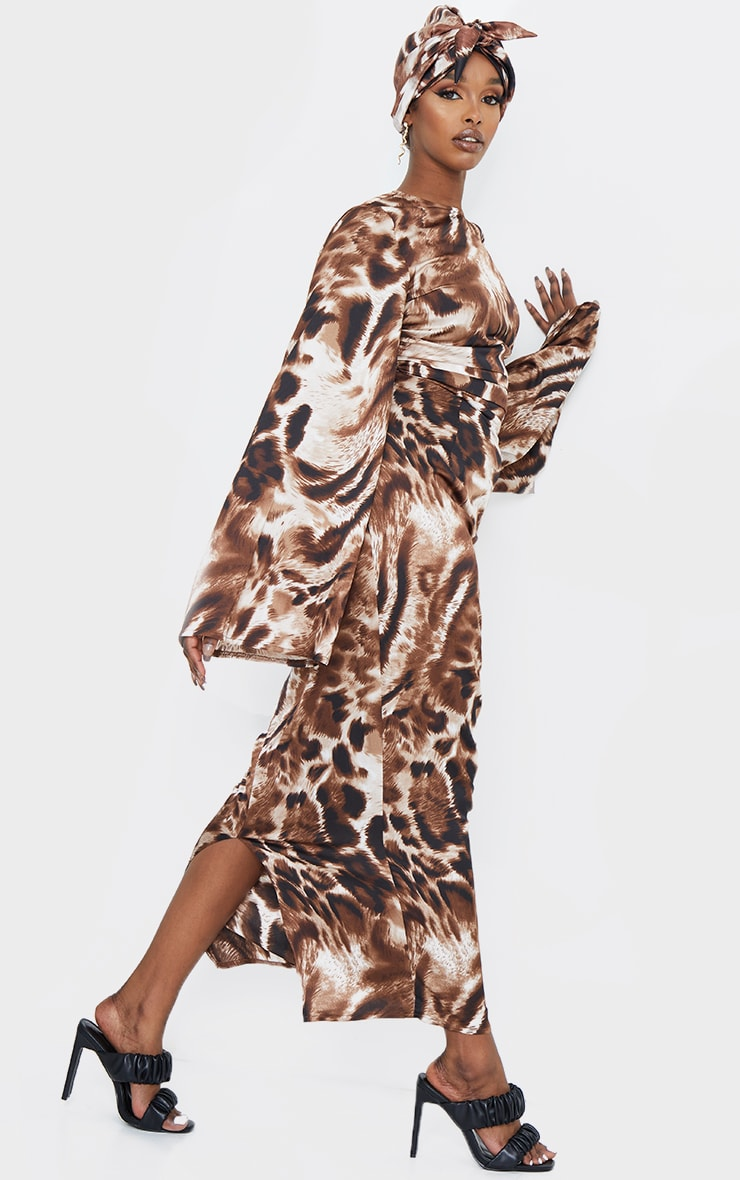 Brown Animal Print Pleat Detail Flare Sleeve Maxi Dress 3