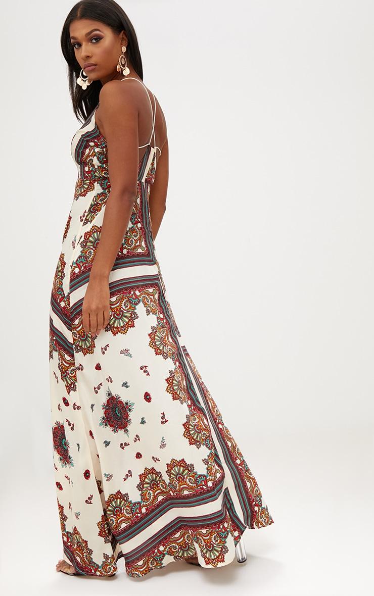 White Chain Print Extreme Split Maxi Dress 2