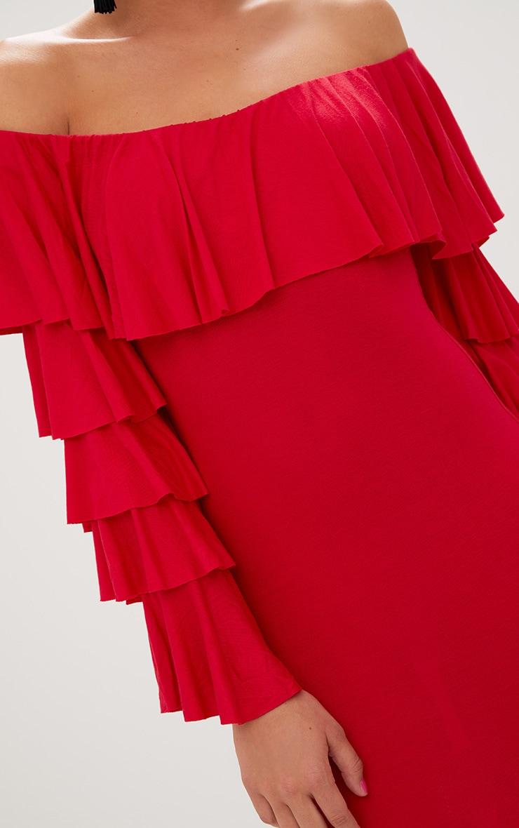 Red Ruffle Sleeve Bardot Bodycon Dress 5