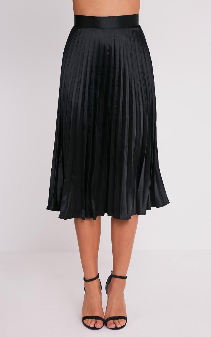 Harmonia Black Satin Pleated Midi Skirt 2