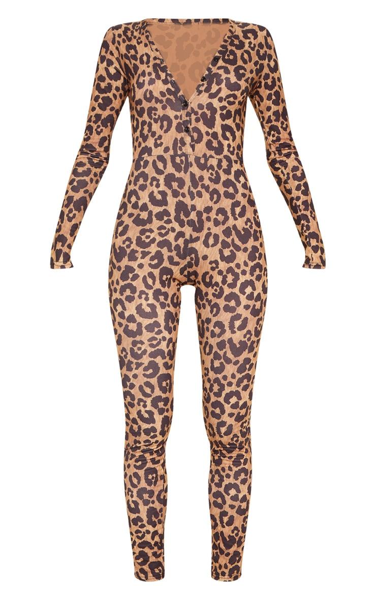 Leopard Button Neck Onesie 3