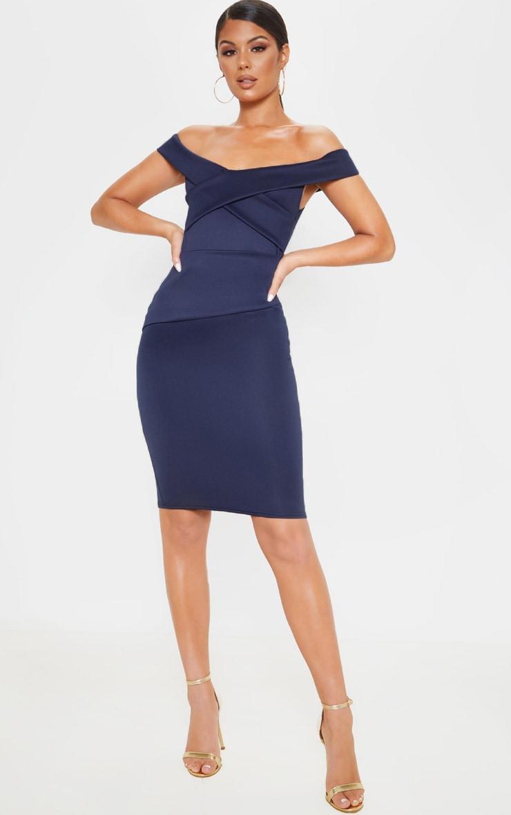 Midnight Blue Bardot Detail Midi Dress 1