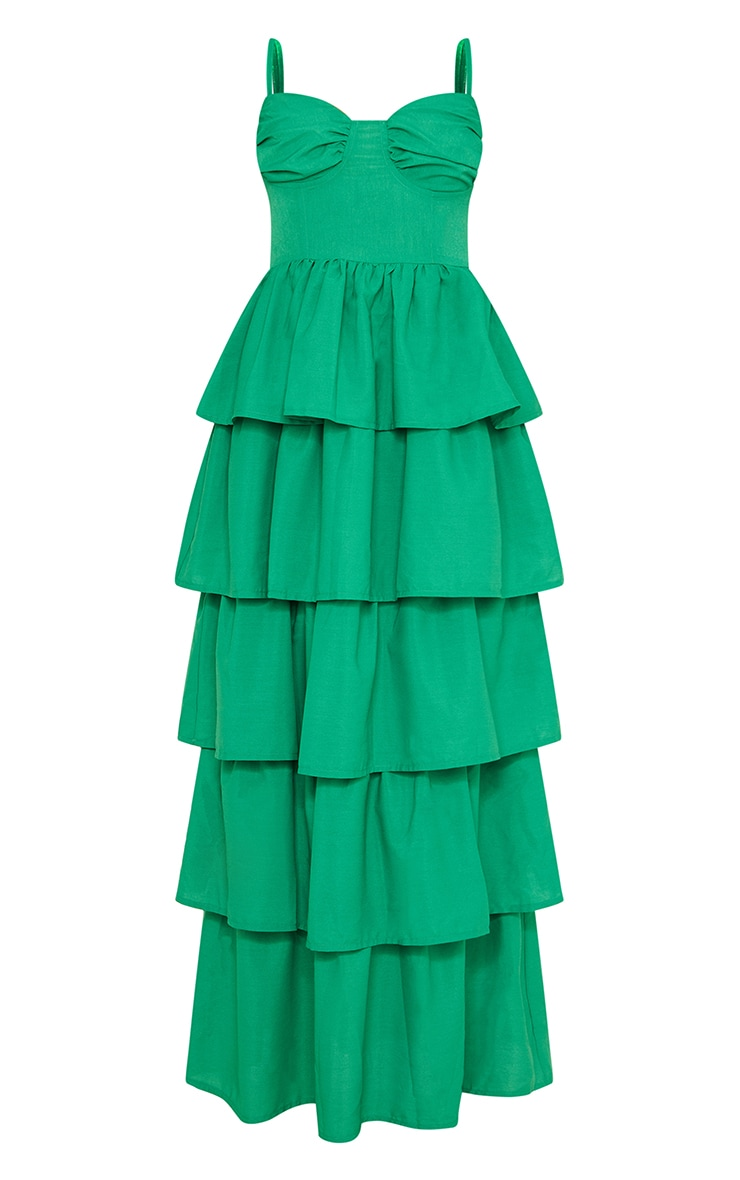 Bright Green Cup Detail Strappy Tiered Maxi Dress 5