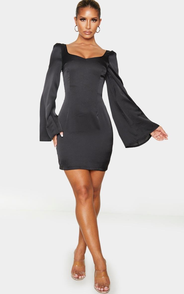 Black Lace Up Back Bodycon Dress 3