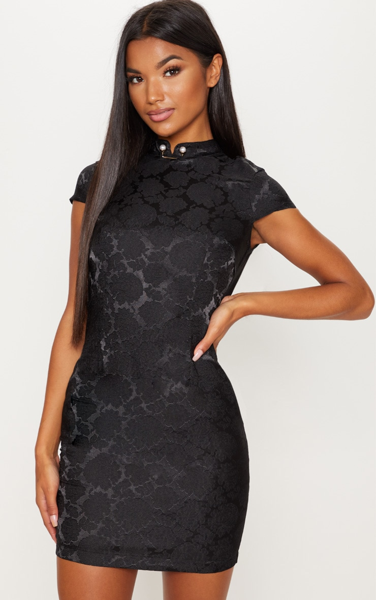 Black Floral Satin Oriental Bodycon Dress 1