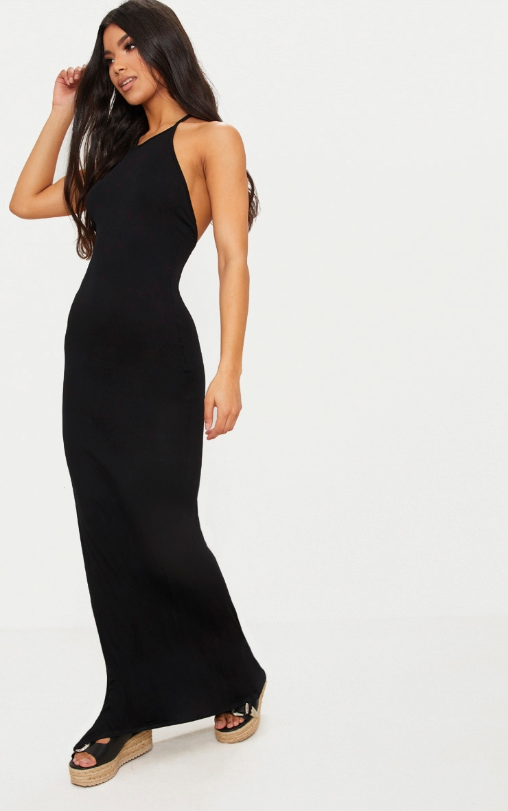 Black Basic Halterneck Maxi Dress 4