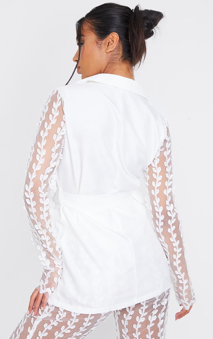 White Woven Lace Sleeve Belt Blazer 2