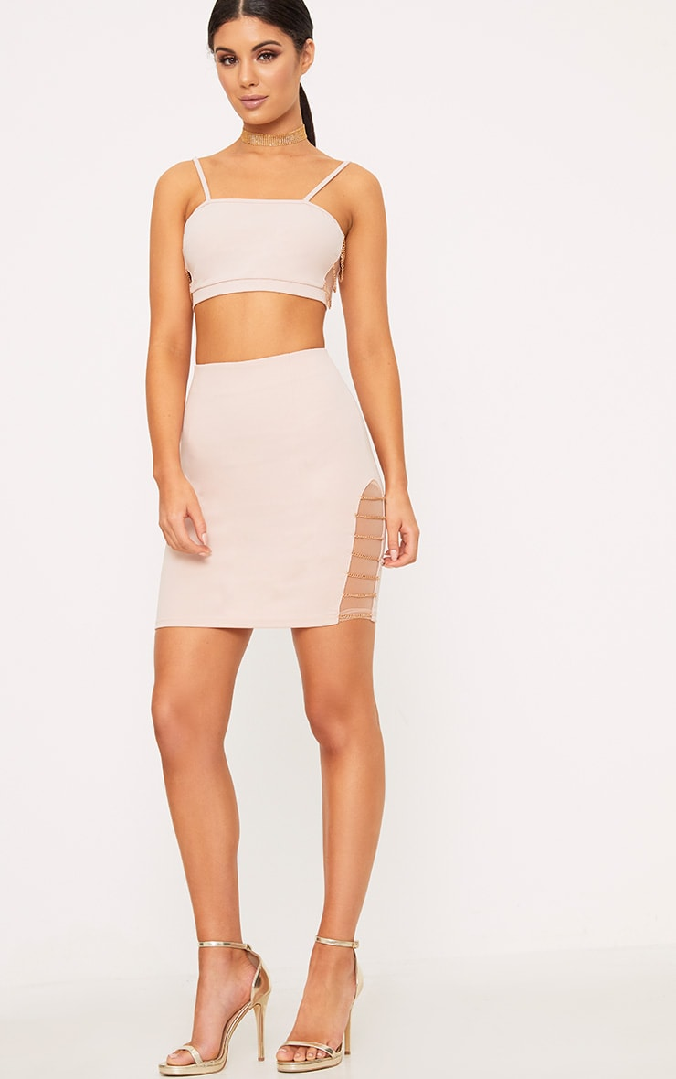 Clea Nude Strappy Chain Detail Crop Top 4