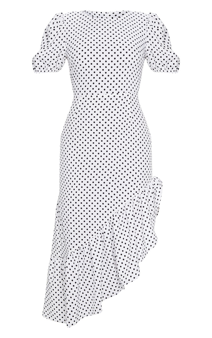 White Polka Dot Short Sleeve Frill Hem Midi Dress 5