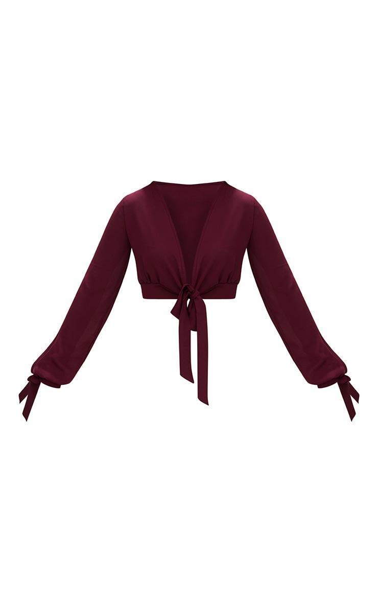 Berry Sheer Woven Open Sleeve Tie Front Top 3