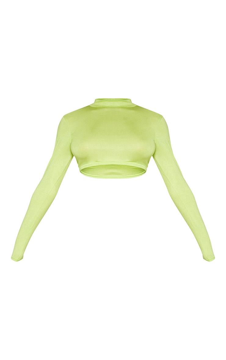 Tall Neon Lime Long Sleeved High Neck Crop Top 3