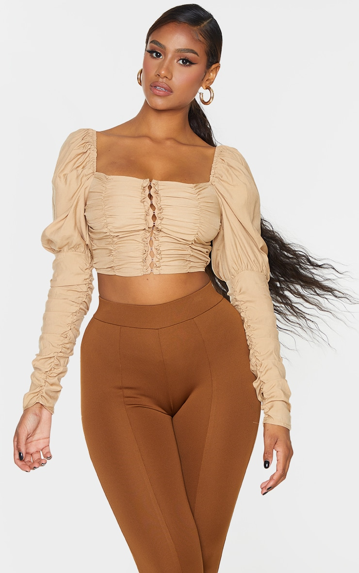 Beige Woven Multi Ruched Hook And Eye Puff Sleeve Crop Top 1