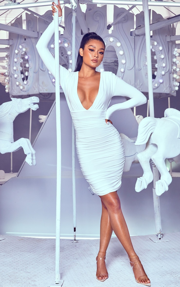 White Ruched Plunge Bodycon Dress