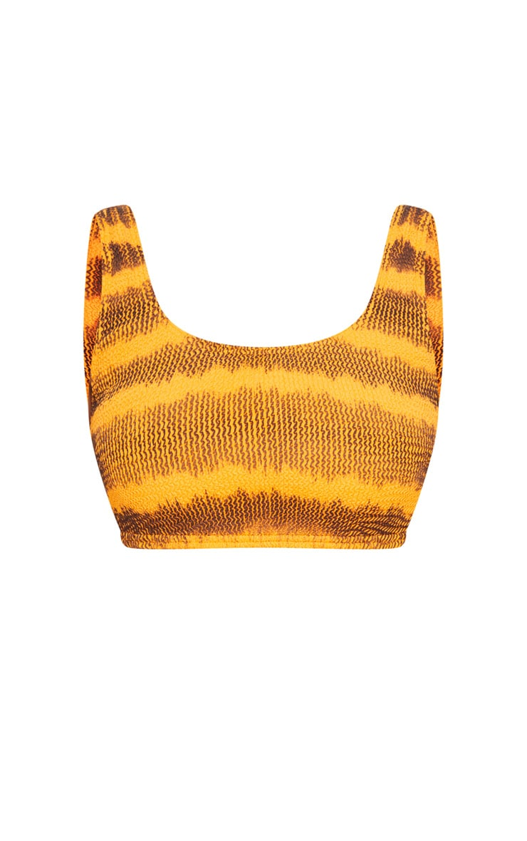 Orange Tie Dye Fuller Bust Crinkle Deep Scoop Bikini Top 3