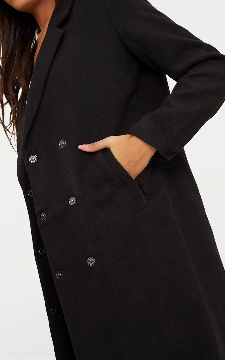 Salana Black Longline Double Breasted Coat 5